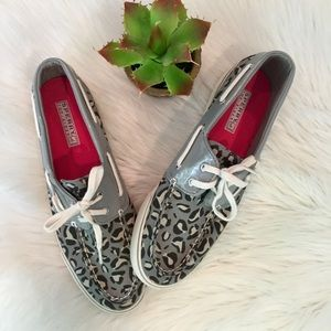 Sperry Gray Animal Print Top Siders, 9.5